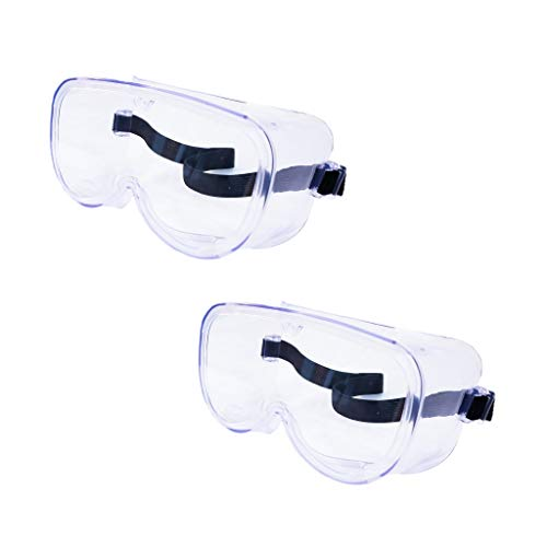 2-Pack Safety Goggles for Eye Protection, Safety Glasses Anti Fog, Protective Eyewear Over Glasses, Clear Wide Vision Goggles for Women, Men, Ideal Eye Shield for Labs, Hospitals, and Traveling