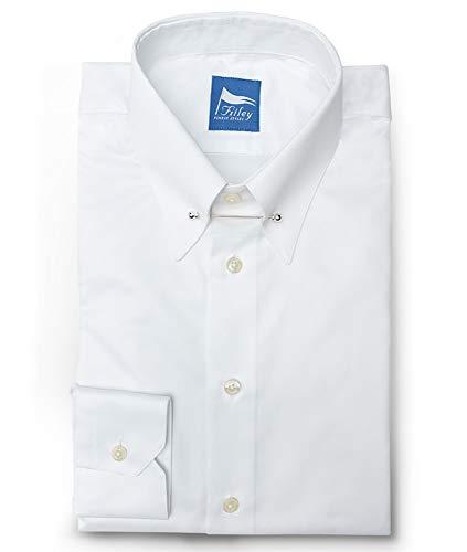 Fitley Herren Hemd Vollzwirn Weiß Piccadilly Kragen Gr. 38 Slim fit Nadel Silber