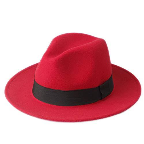 CHENGWJ Cap Fedoras Mannen Wol Women'S Fedora Hoed Voor Laday Brede Rand Zwart Lint Cap Jazz Kerk Cap Panama Top hoed