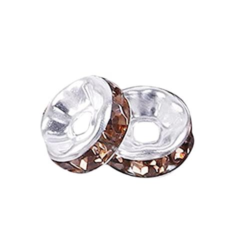 ZSDFW Cuentas de cristal de 6 mm para hacer joyas con diamantes de imitación de cristal para pulsera de bricolaje y pendientes, plata con café claro