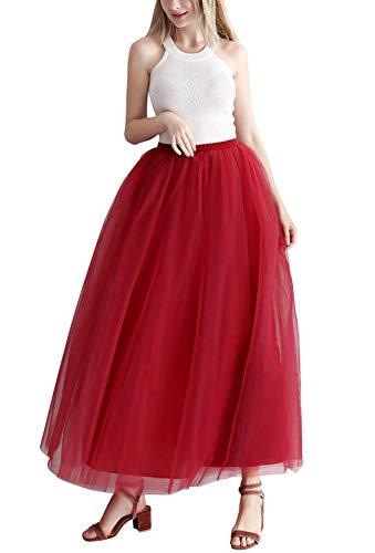 Aysimple Mujer Falda de Tul Larga de Tul Plisada Tutu Malla de Noche Fiesta Cintura Alta Vino Rojo
