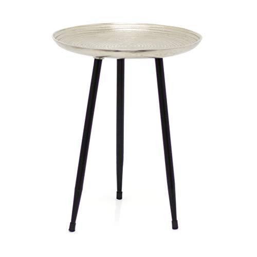 Carousel Home Gifts Contemporary Round Silver Side Table | Occasional Pedestal Table Bedside Tables | Living Room End Tables