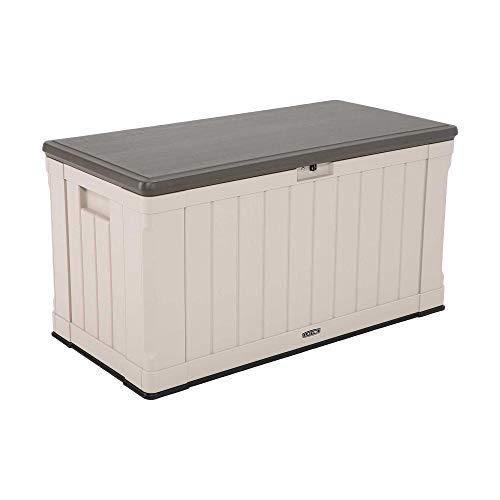 Lifetime 60186 Heavy-Duty Outdoor Storage Deck Box 439.11 L Outdoor Storage Box, Desert Sand Wood Look, 127.9 x 64 x 67.2 cm
