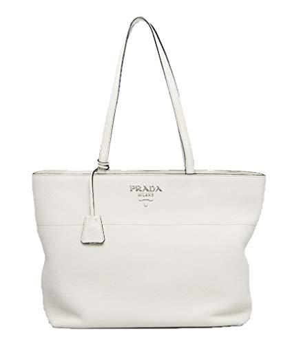 Prada White Bianco Vitello Phenix Pebbled Leather Shopping Tote Bag 1BG203