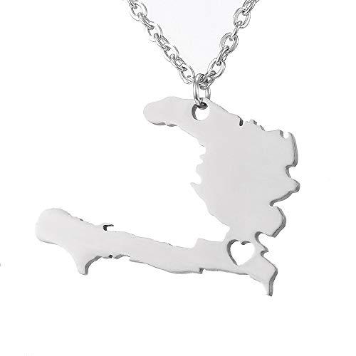 nobranded Unisex Rock Estilo Acero Inoxidable Haití Mapa Colgante Collar joyería Regalos haitianos