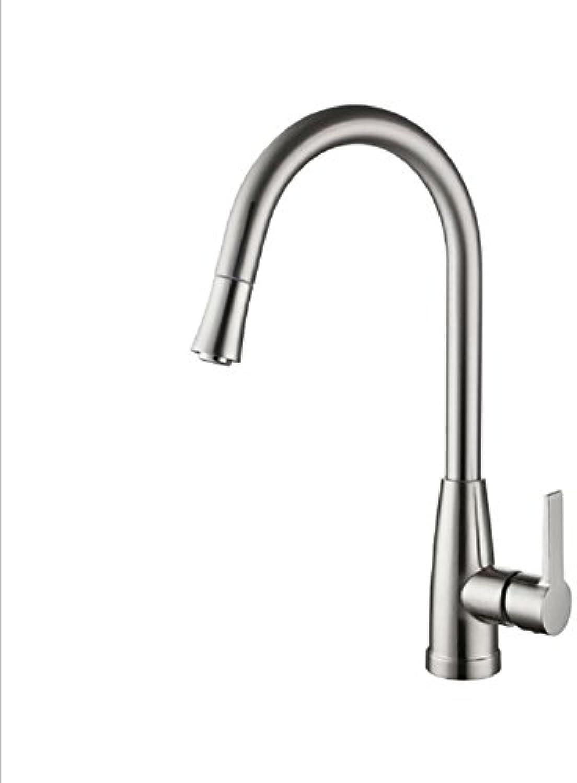 F.A.N.G.YUN Wasserhahn aus Messing, Gebürstetem Nickel auf der Oberflche, Heies und Kaltes Mischwasser in der Küche, Waschbecken Waschbecken Wasserhahn