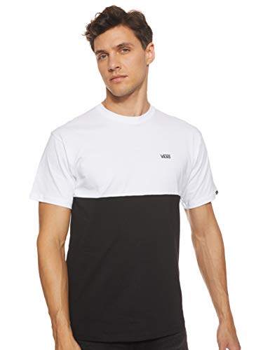 Vans Colorblock tee - Camiseta para Hombre , Blanco (White/black), Small