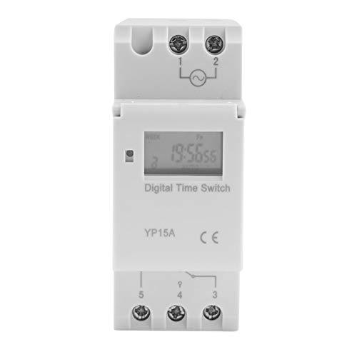 FOLOSAFENAR Interruptor de Tiempo de relé 16A Interruptor de Temporizador programable Digital de batería de Alta eficiencia, para farolas(AC220V)
