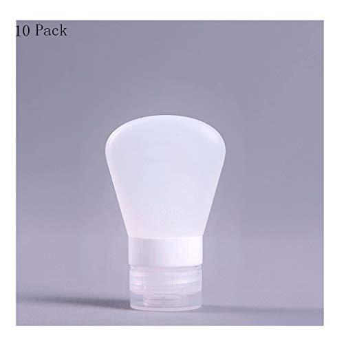10pcs bouteilles voyage en silicone Set, Container Set Portable Leakproof Rechargeables Voyage Squeezable vide for les cosmétiques Shampooing Lotion de toilette (Color : White, Taille : 37ml)