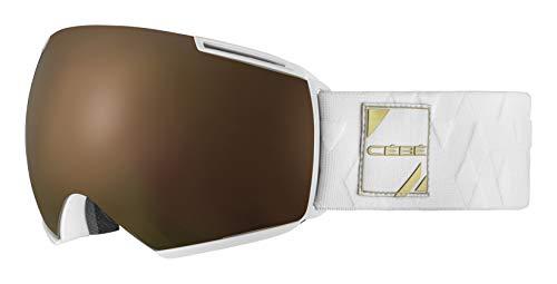 Cébé Icone Mascaras de esquí, Adultos Unisex, Matt White Gold Dark Rose Flash Gold-Amber Flash Mirror, Large