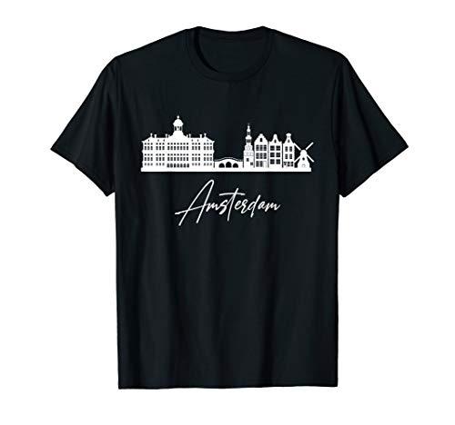 Amsterdam Skyline Souvenir Hauptstadt Städtetrip Niederlande T-Shirt