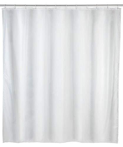 WENKO Duschvorhang Uni Weiß - Textil , waschbar, wasserabweisend, mit 12 Duschvorhangringen, Polyester, 240 x 180 cm, Weiß