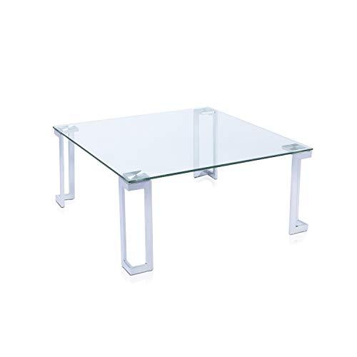 mesa de centro cuadrada de cristal y metal cromado