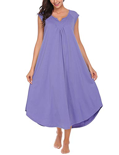 ekouaer sleepwear v neck cap sleeve pajamas soft long nightgowns for women Blue Purple