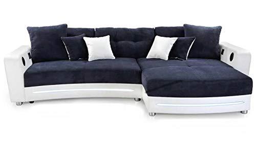 lifestyle4living Ecksofa in Weiß (Kunstleder) und Blau (Microfaser) inkl. Multimediapaket   Sofa hat 6 Kissen   Funktionssofa mit LED-Beleuchtung