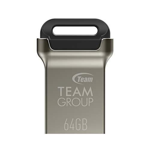 TEAMGROUP C162 64GB USB 3.2 Gen 1 (USB 3.1 3.0) Mini Fits Metal USB Flash Thumb Drive, External Data Storage Memory Stick Compatible with Computer Laptop, Read up to 90MB s TC162364GB01 (Black)