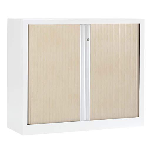 Armoire Monobloc à rideaux | Blanc | Erable | HxLxP 1000 x 1200 x 430 | Certeo