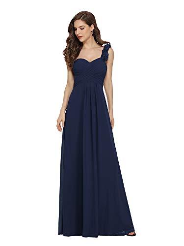 Ever-Pretty Vestito da Ballo Elegante Una Spalla Linea ad A Chiffon Lunghezza del Piano Abito da Cerimonia Blu Navy 42EU