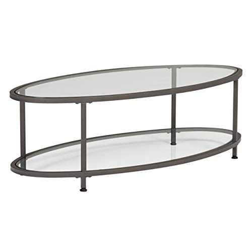 "Studio Designs Home Camber Oval Glass Coffee Table In Pewter With Clear Glass, Living Room Coffee Table, 48"","