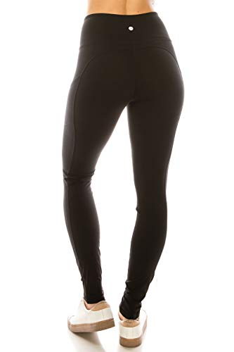 YL77AL28-BLACK-M Side & Inner Pockets Yoga Leggings, Medium