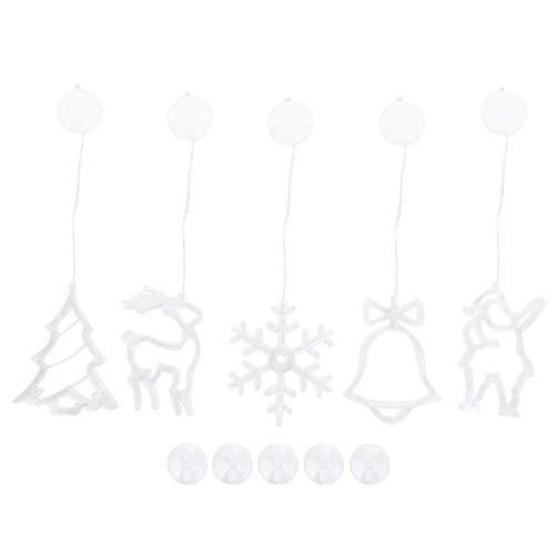 SanZHONGsd 5St/ Set LED Julljus Inomhus Batteridrivna Hängande Fönsterlampor Med Sugkoppar Varm Vitt Semester Födelsedag Bröllop Jul Butik Fönster Dekoration