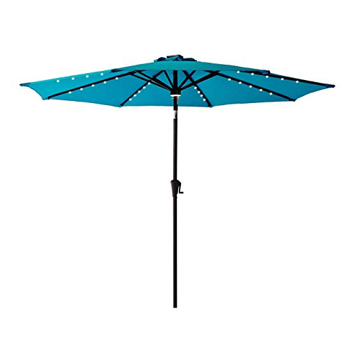 C-Hopetree 9 ft Outdoor Patio Market Umbrella with Solar LED Lights and Tilt - Aqua Blue