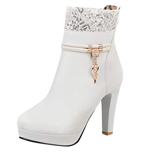 YGbuy Botas De Mujer De Moda, Botas De Invierno De Tacón Alto De Encaje con Alas De Diamantes De Imitación Botas De Tacón Alto Zapatos De Mujer De Gran Tamaño Casual Banquete Botas De Mujer Cálidas