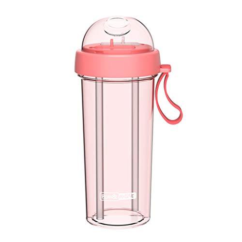 DOLDOA Haushalt Wohnen,Portable Outdoor Travel Kreative Dual-Use-Wasserflasche Trinkbecher Auslaufsicher (Rosa)