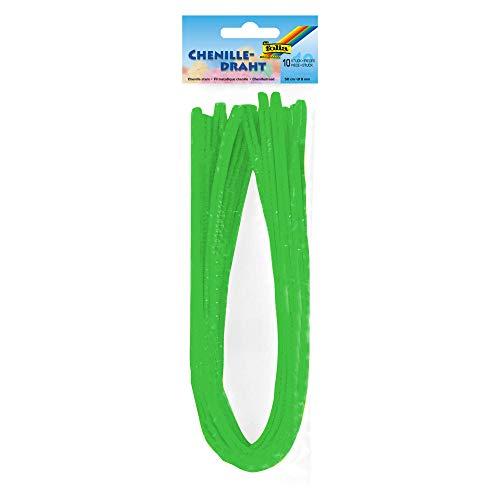 folia 77851 – Fil chenille – Lot de 10 cure-pipes – Vert clair – Diamètre : 8 mm et 50 cm de long – Idéal pour les enfants pour bricoler et créer des animaux, figurines et autres formes