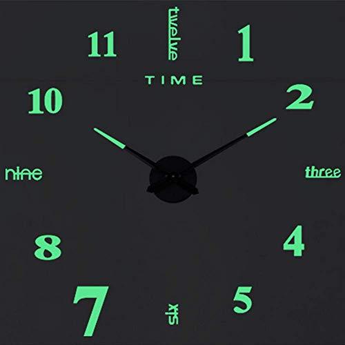 SHS2018 Reloj de pared moderno y luminoso, XXL, espejo acrílico, 3D, pegatinas, reloj de pared, hogar, hotel, oficina, decoración, regalo, Luminous-3.