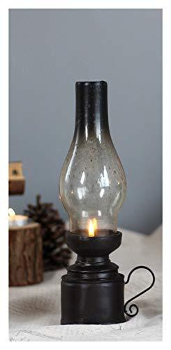 ASVNDD Resina Artesanía Creativa Nostálgico lámpara de keroseno Candle Holder Regalos de la decoración de Vidrio de la Vendimia Cubierta de la Linterna Velas Decoración del hogar Dinner (Color : S)