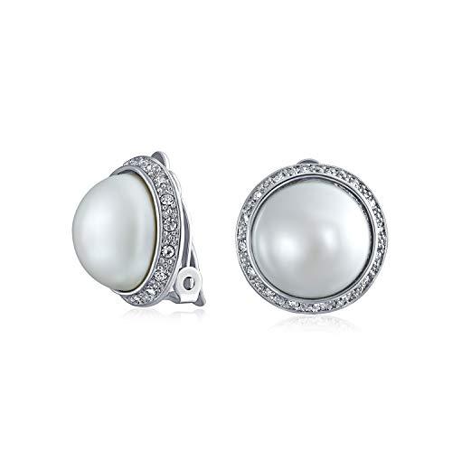 Round Circle Dome Botón estilo cristal Halo blanco simulado perla clip en pendientes para las mujeres plateadas no perforados