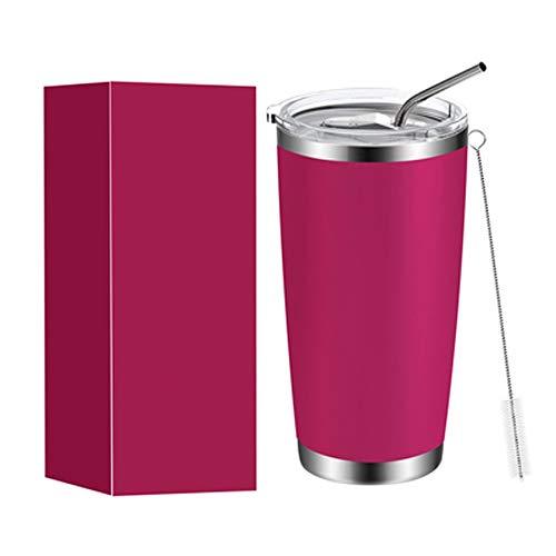 Tazas de viaje de acero inoxidable portátiles para coche, con aislamiento al vacío, para coche, aptas para café y té, para mantener las bebidas calientes o frías (color rosa rojo).