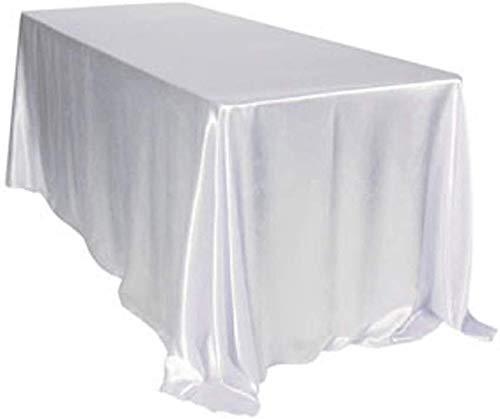 BIT.FLY Tischdecke aus Satin, rechteckig, 228 x 335 cm, für die Dekoration von Hochzeit/Party/Events – Weiß