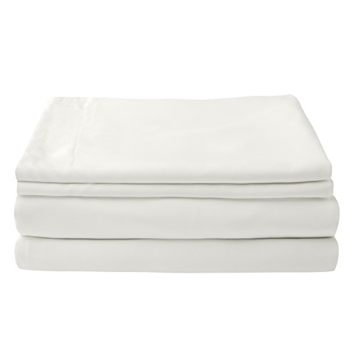 100% Bamboo Bed Linen - Luxury Duvet Cover Set -Double - Duvet Cover, Fitted Sheet, Pillowcases (Natural White)