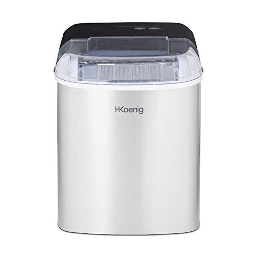 H.Koenig ICEK12 Máquina para hacer cubitos de hielo, 120 W, 12 kg, Acero Inoxidable