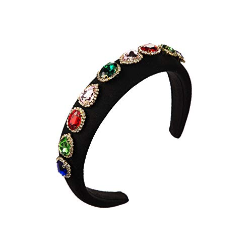 Sponge Hair Hoop Female Hot Sale Spring Style Inlaid with Oval Glass Drill and Rhinestone Multi-color Hair Band for Lady-Black-