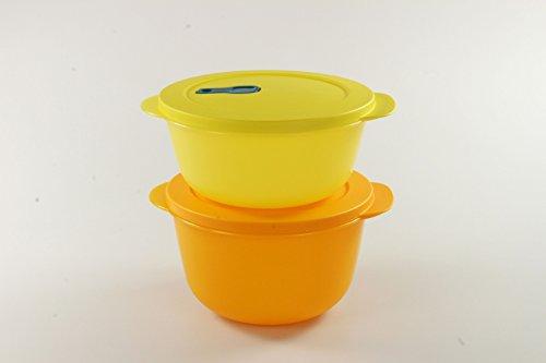 Tupperware Microonde Cryst alwave 2,0L arancione + Micro Micro Wave Plus 1,5L Giallo P 23322