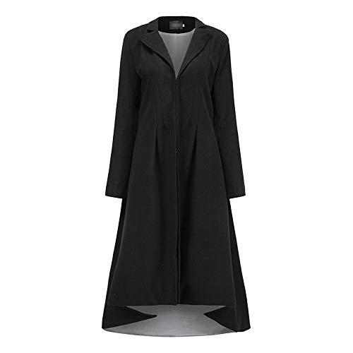 Lssing Damen Wollmantel Trenchcoat, Revers Anzug Smoking Langer Mantel-schwarz_4XL