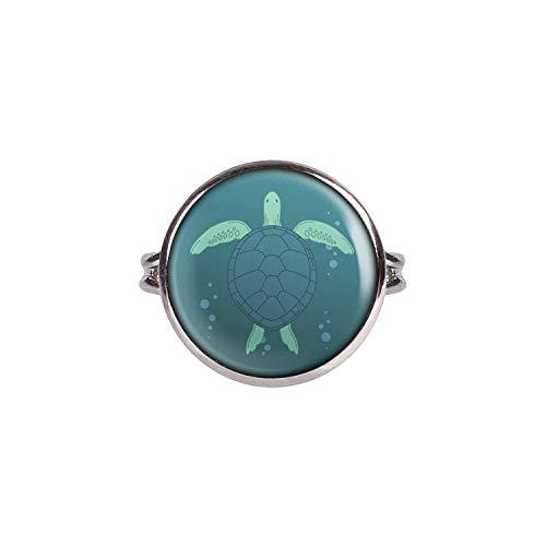 Mylery Ring mit Motiv Schildkröte Meer Wasser Silber 16mm