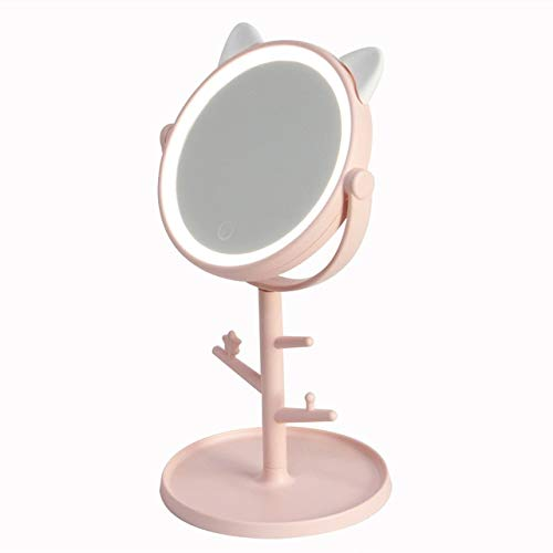ZYR Makeup LED Mirror Table Desktop Countertop Base Use for Bathroom Travel Ordinary Pink Cat ear LED Mirror With USB Cable-With branches shape