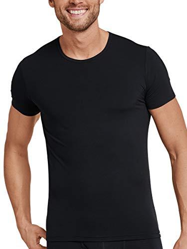 Schiesser Wolle T-Shirt Rundhals Camiseta sin Mangas, Negro (Schwarz 000), Large (Talla...