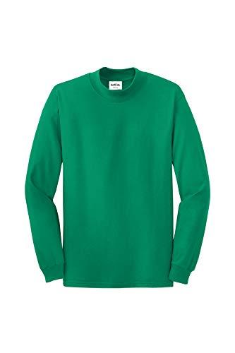 Clothe Co. Mens Mock Turtleneck Long Sleeve Shirt,Kelly Green,L