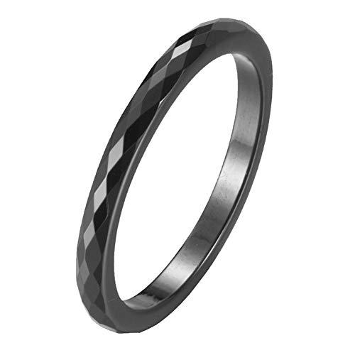 PAURO Damen Keramik 2MM Diamant Formschnitt Dünn Midi Knöchel Ehering Versprechen Schwarz Größe 60 (19.1)