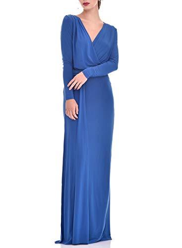 Vestido Largo Mujer Fiesta Evento Elegante Largo Liso Entallado Chic (Azul Electrico,...