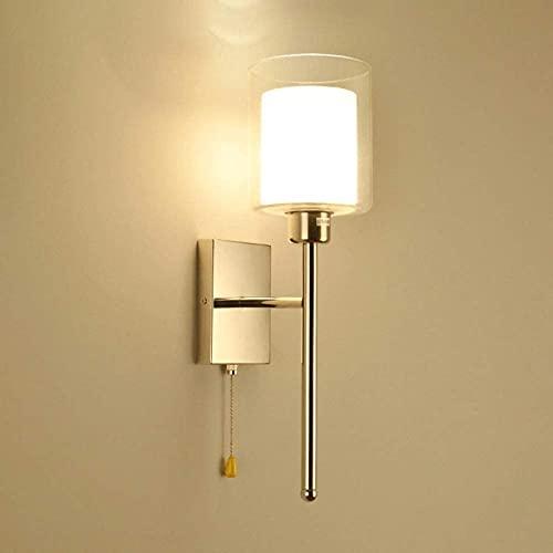 Aplique de pared LED moderno con interruptor de pantalla de vidrio, lámpara de pared de metal, lámpara de pared interior simple E27, accesorio de iluminación para dormitorio, pasillo, sala de estar,
