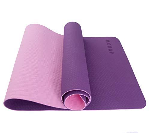 MOHAP Yogamatte Gymnastikmatte Trainingsmatte Übungsmatte rutschfest schadstofffrei für Fitness Pilates & Gymnastik mit Tragegurt,183 x 61 x 0,6cm,Lila