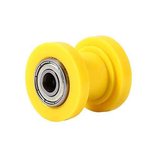 10mm Riemenspanner-Kettenrolle, Qualitäts-Nylon-Antriebskettenrolle mit Schwingen-Hochleistungslager(Gelb)
