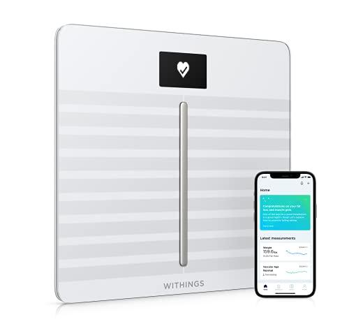 Withings Body Cardio - bilancia intelligente Wi-Fi con analisi della composizione corporea, monitoraggio della salute cardiaca, età vascolare, IMC, massa grassa, muscolare e ossea, {20e74cc1a079389d182afcf0af0e6862fc733438dfcf5ba0d37b6d664300c18b} acqua - Bianca