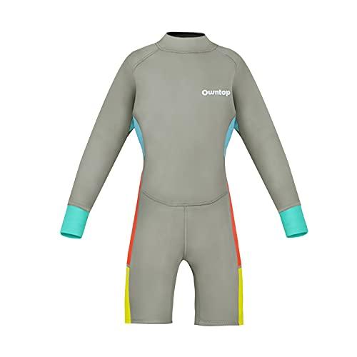 Traje de Neopreno para Niños 2.5mm Neopreno Mantener Caliente Trajes de Surf Manga Larga Traje Húmedo con Cremallera para esnórquel, Buceo, natación, Surf
